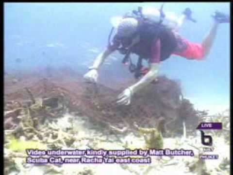 Interview Co-organisers Earth Day clean-up underwater at Racha Yai Island