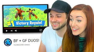 GIRLFRIEND REACTS to our 1st Victory Royale! (FUNNY)