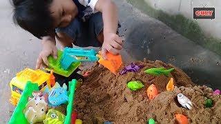 Xe máy xúc, xe xúc cát, xe chở cát, câu cá đồ chơi trẻ em dump trục toy for kids
