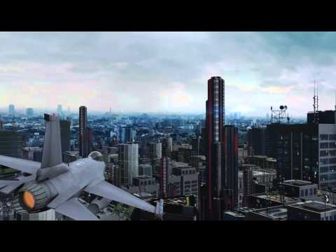 Jet sobre edificios futuristas