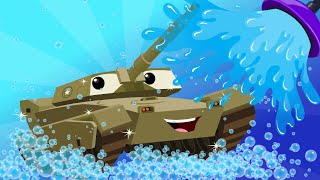 army tank | kids car wash | car cartoon for children | kids channel | videos for kids