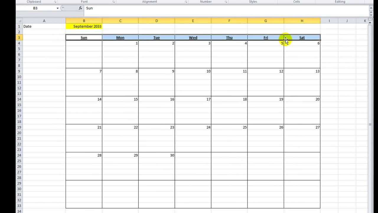 Excel Template Monthly Calendar