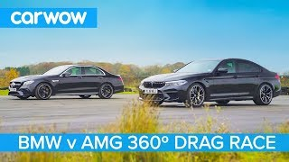BMW M5 Competition vs AMG E 63 S - 360° DRAG & ROLLING RACE