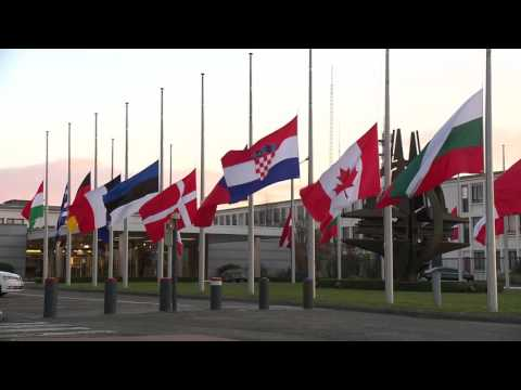NATO HQ Flags Fly At Half Staff In Brussels