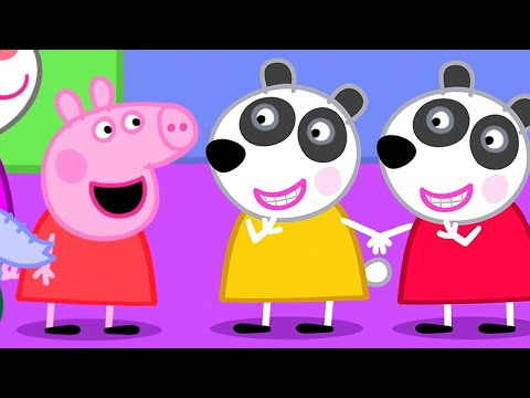 Peppa Pig English Episodes | Peppa Pig's New Friends - Panda Twins and Mandy Mouse! | Peppa Pig