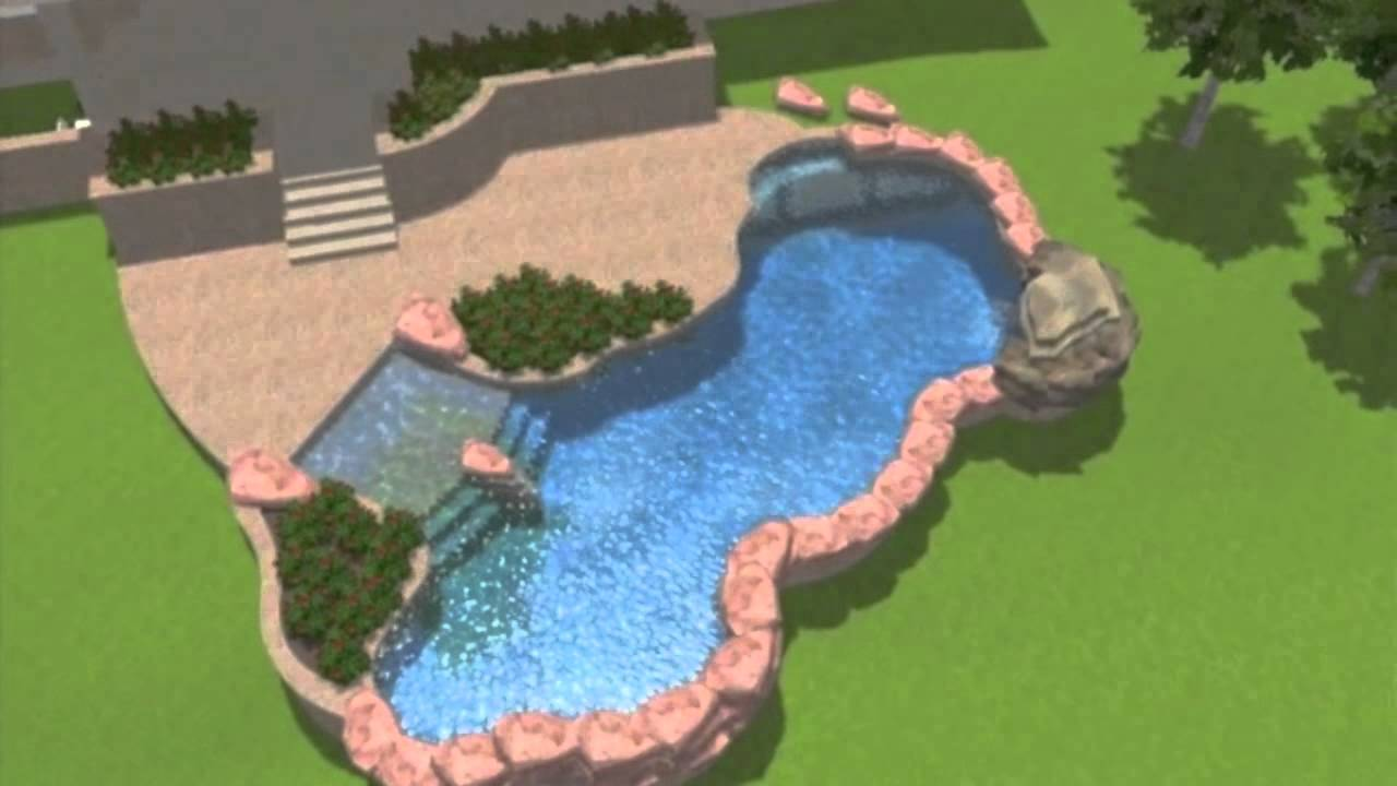 Pool beach entry and rock features with grotto