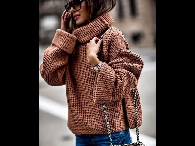 Оверсайз - Женские Вязаные Пуловеры Спицами - 2019 / Overseas Women's Knit Pullovers Knitting