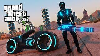 TRON MOD w/ LIGHT SUIT, LIGHT CYCLE & TRON CITY!! (GTA 5 Mods)