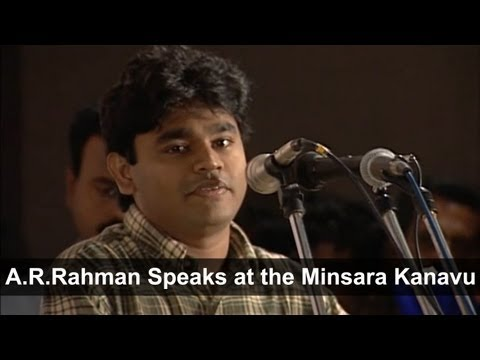 A R Rahman Speaks At The Minsara Kanavu Audio Release video