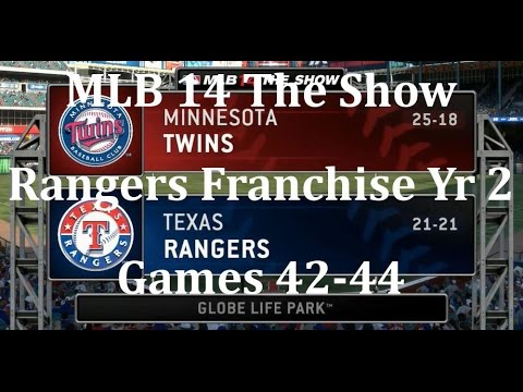 MLB 14 The Show (PS4) Texas Rangers Franchise Yr 2 - Games 42-44 vs Minnesota Twins