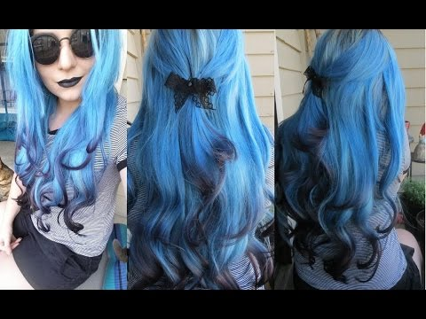 How I Dyed My Hair Extensions Blue With Black Tips | Ice Fire Black and Blue Ombre