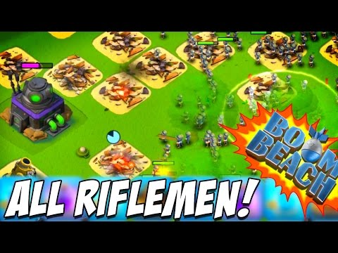 BOOM BEACH | ALL BOOSTED RIFLEMEN vs Dr Terror VOLCANO! | EPIC FINALE!