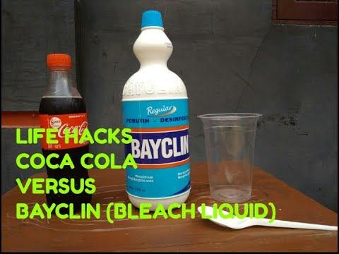 LIFE HACKS - COCA COLA VERSUS BAYCLIN BLEACH LIQUID (EXPERIMENT)