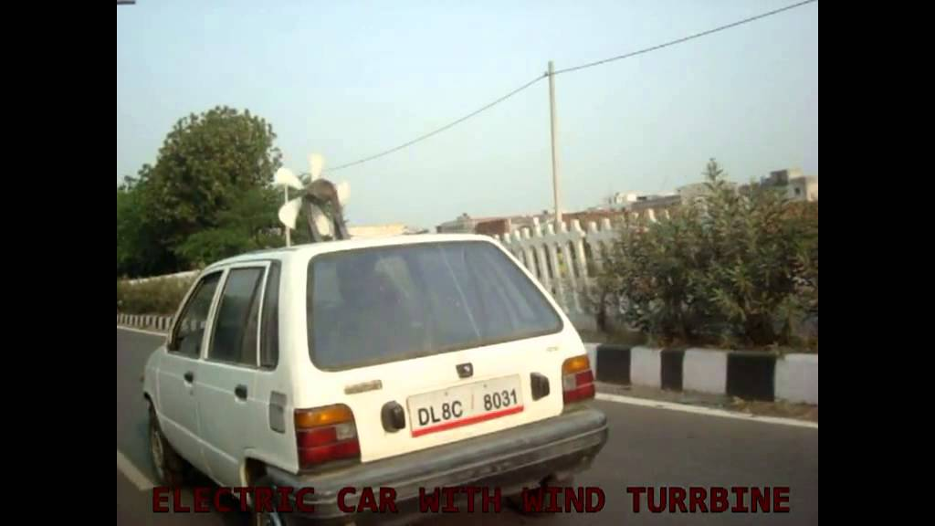 Electric Car With Wind Turbine On The Roof Top Youtube
