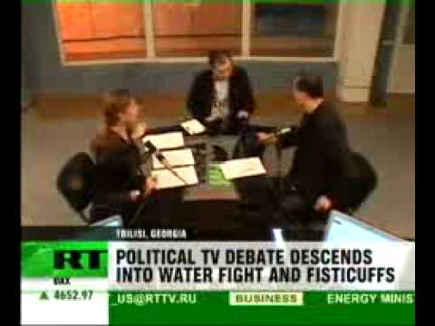 Georgian politicians fight live on TV