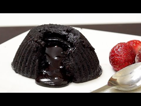 Eggless Molten Choco Lava Cake in Microwave - Chocolate Fondant Cake   Microwave Cooking
