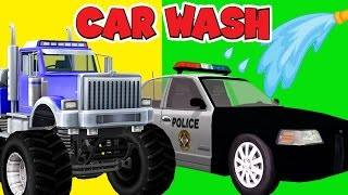 Police Car Wash Cartoons For Children | Ambulance Fire Trucks Wash | Monster Trucks Videos Babies