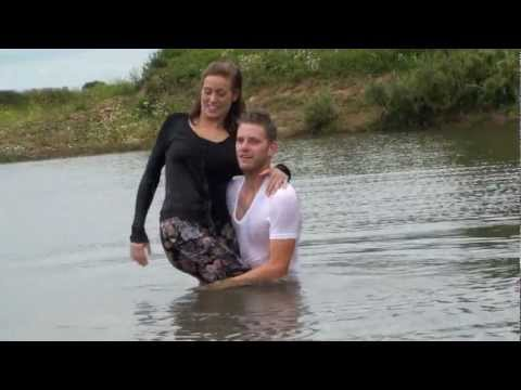 Cute couple takes a swim in clothes