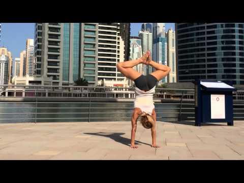 Dubai Handstand Yoga Press Baddha Konasna Legs
