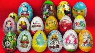17 Surprise Eggs Kinder Surprise Cars 2 Zaini Spongebob Thomas