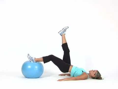 Single Leg Bridge 'n Curl on Exercise Ball - YouTube