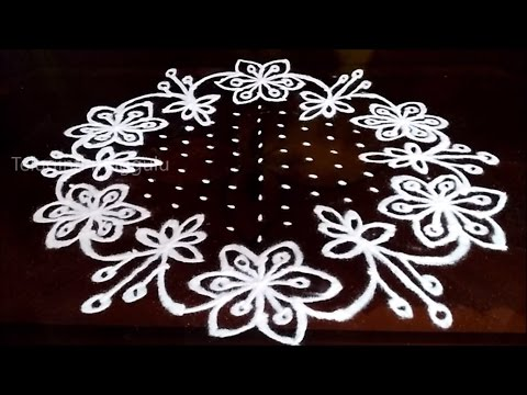 Beautiful  Flowers kolam designs with15 - 8 middle | chukkala muggulu with dots| rangoli design