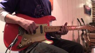 Demoing pick-up combinations with Schecter-style pickguard - Mark Knopfler licks