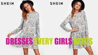 Best Dress For Women Fashion Review | Grey Long Sleeve Round Neck Cut Out Back Floral Cute Dresses