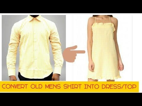 DIY CONVERT OLD MENS SHIRT INTO DRESS/TOP