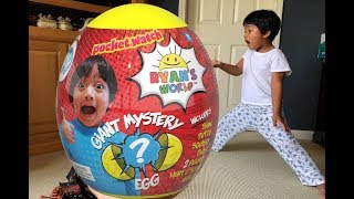 Opening RYAN'S WORLD GIANT MYSTERY EGG Surprise Toys For KIDS Toy Review