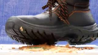 Steel toe boots crushing nuts