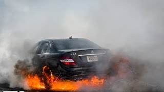 Mercedes C63 AMG burnout and caught on fire | HD |