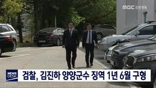 김진하 양양군수 징역 1년 6월 구형