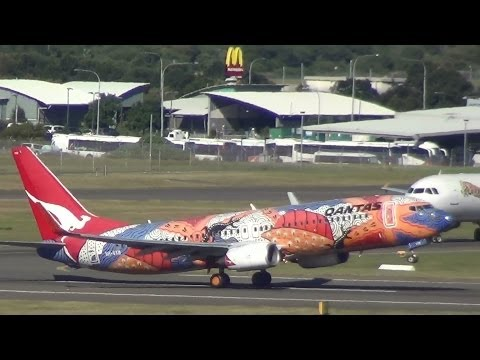 "Qantas Airlines ""Yananyi Dreaming' B737-800 takeoff Sydney Airport"