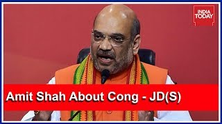 People Unhappy With Cong-JDS Alliance In Karnataka : Amit Shah Press Meet On Karnataka Polls