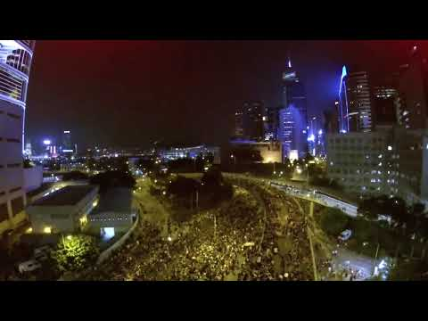 Drone Shows Thousands Filling Hong Kong Streets