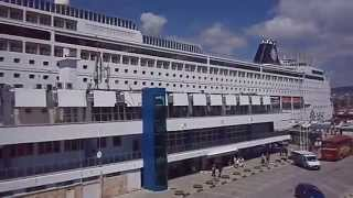 MSC Sinfonia is a cruise ship anchor at Port of Varna, Bulgaria