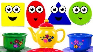 Kids Learn Colors & Shapes with Mini Tea Set & Play Doh for Children | Teach Colours & Shapes Songs