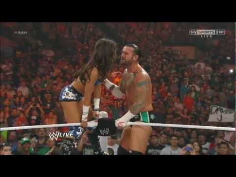 Aj Lee Kisses Cm punk and then...shock wwe universe RAW 07/0