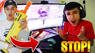 NERF Gun Troll On My Little Brother While He Plays Fortnite!