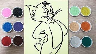 TÔ MÀU TRANH CÁT MÈO TOM - Learn colors with sand painting toys - Đồ chơi trẻ em Chim Xinh