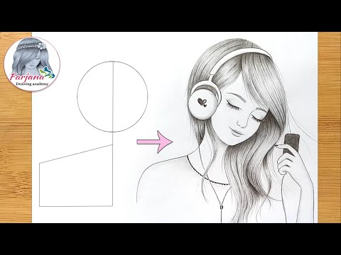 How to draw a Beautiful girl with Headphones - Pencil Sketch  Easy girl drawing  Art Tutorial