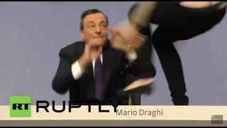 Brave Aryan German Young Woman Jumps On Desk Euro Central Bank Goldman Sachs Scum Mario Draghi
