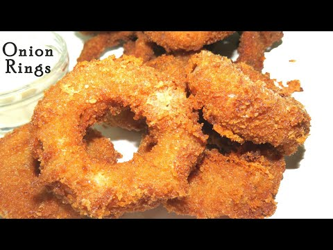 Onion Rings Recipe in Telugu-Cheesy Onion Rings recpe-crispy onion rings-Easy snack recipes-Tastysna