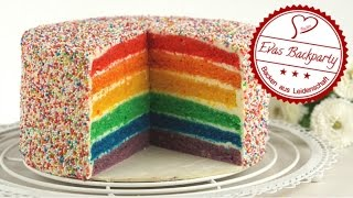 Regenbogentorte / Rainbow cake  / Sprinkle Cake / saftig / Backen mit Evas Backparty