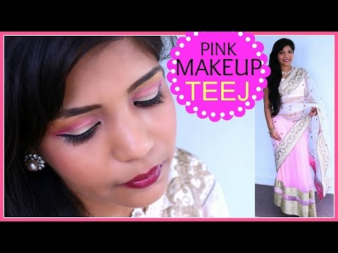 Teej Festival Indian Makeup Tutorial,nepali,bangladesi Pink Makeup Look 2014 video