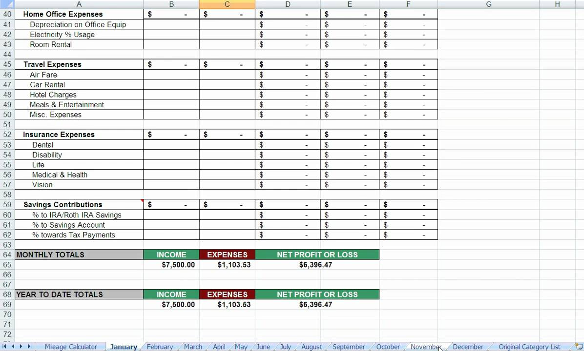 small business expenses spreadsheet