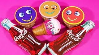 3 Color Kinetic Sand in Ice Cream Cups | Surprise Toys PJ Masks LOL Kinder Surprise Eggs