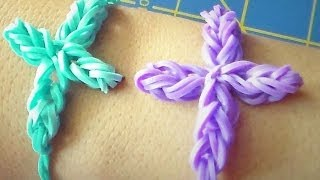 Big Cross Rubber Band Charm/Bracelet Without the Rainbow Loom