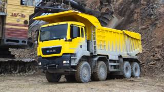 MAN 8x8 mining tipper loading by EKG 8